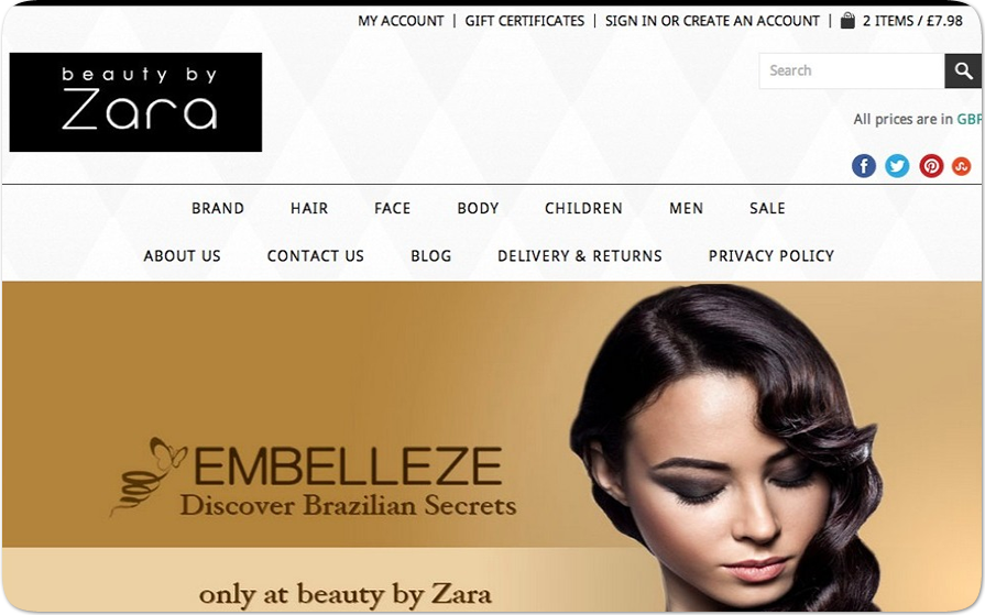 BigCommerce Custom Design and Development Beauty by Zara