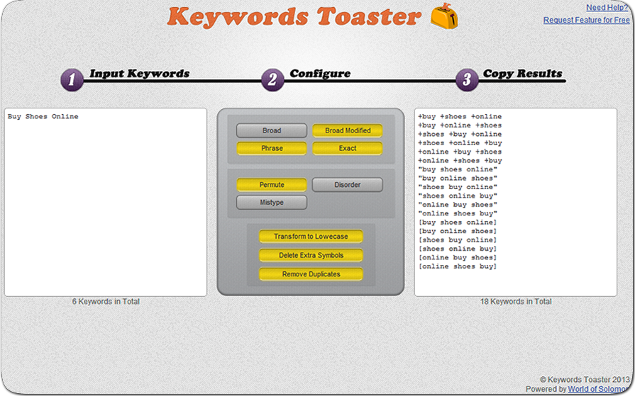 Keywords Toaster for PPC and SEO Specialists